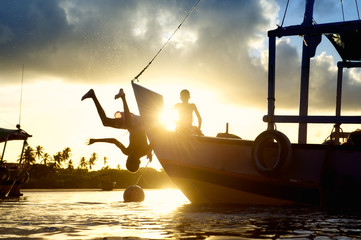 Children Diving Sunset Silhouettes Brazilian Boat