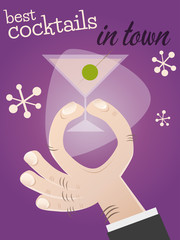 cocktail poster hintergrund retro party