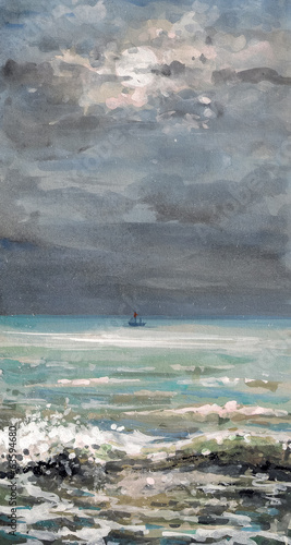 Small boat on the sea before storm.Watercolors