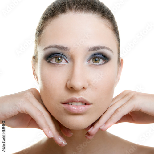 Beautiful young adult woman with clean fresh skin on white backg