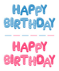 Happy Birthday letters in blue and pink