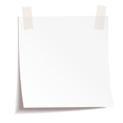 White note paper on white background