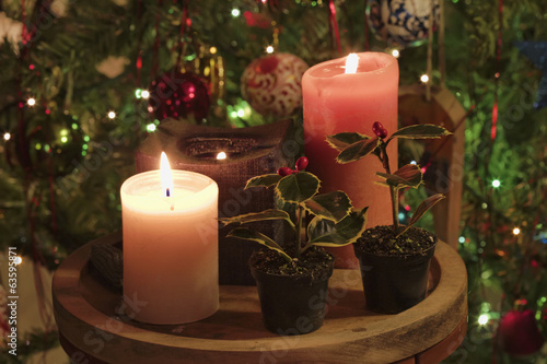 Candles and Christmas tree decorations