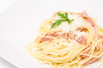 Spaghetti Carbonara With Baked Ham And Parmesan Close Up