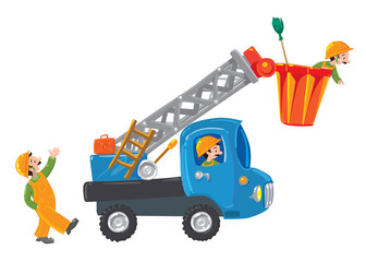Three funny workers and machine-lift