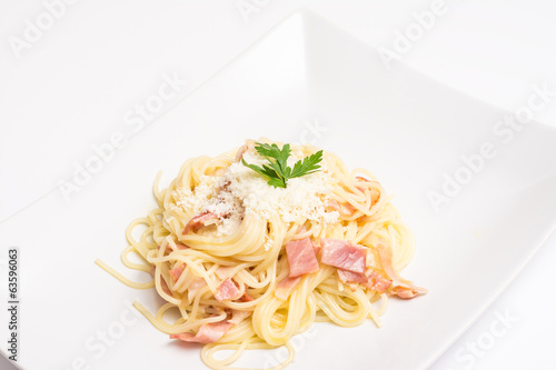 Spaghetti Carbonara Plate With Baked Ham And Parmesan