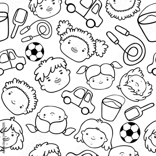 Doodle kids faces pattern