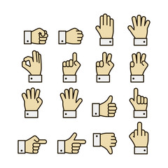 Hand gestures icons set, contrast color