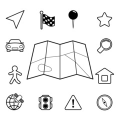 Navigation iconset, contour flat