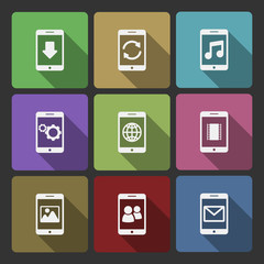 Mobile devices UI design set, squared shadows