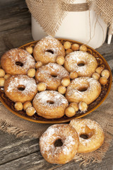 Donuts,  fried pastry and sugar