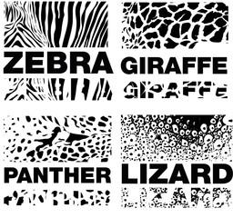 Animal Skin Pattern set of leopard zebra, panter, lizard