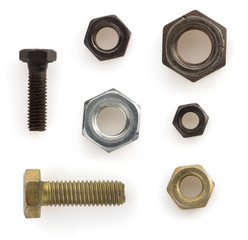 nuts,bolts and screw  on white