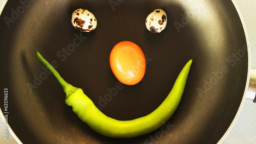 smiley food,  two quail eggs a chicken egg and pepper  in a pan