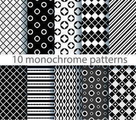 ten seamless monochrome pattern. EPS10, no gradients