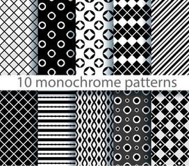 ten seamless monochrome pattern. EPS10, no gradients