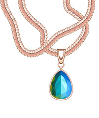 golden necklace with blue sapphire