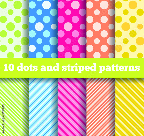 10 seamless dots and striped patterns