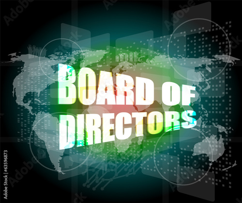 board of directors words on digital screen, world map