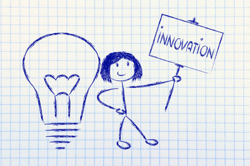 girl with ideas and knowledge promoting innovation
