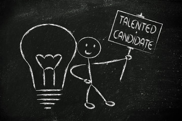 man with ideas and knowledge: talented candidate