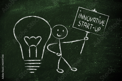 man with ideas and knowledge promoting an innovative star-up