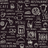 Hand drawn restaurant related seamless pattern on blackboard - 63597410