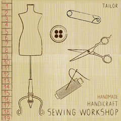 Vintage poster with tailoring elements