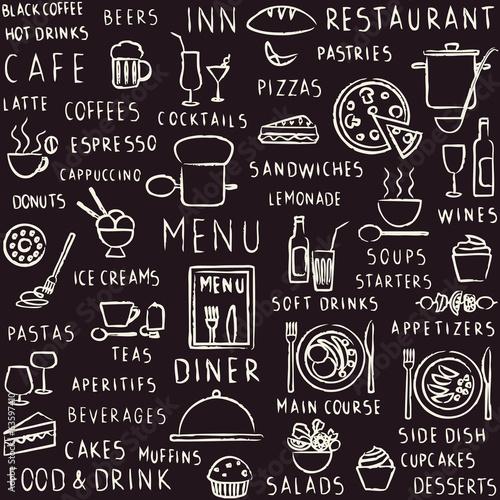 Hand drawn restaurant related seamless pattern on blackboard © Aleksandra Novakovic