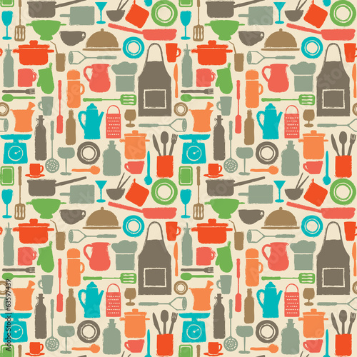 Vector seamless pattern background with kitchen silhouette icons
