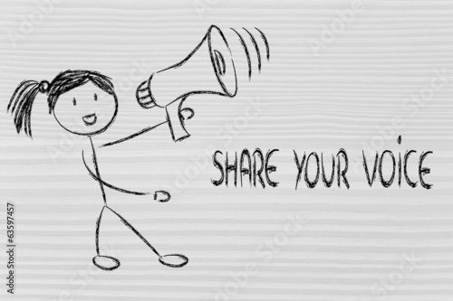 funny girl with megaphone: share your voice