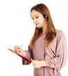 A friendly secretary/telephone operator in headphones, white bac