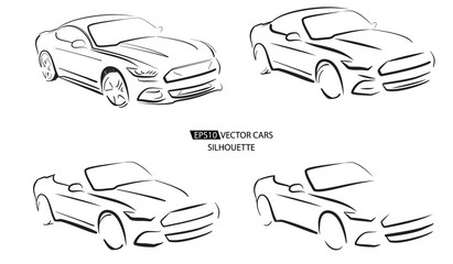 Silhouette of sport car, vector illustration on white