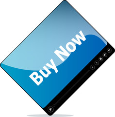 Video media player for web with buy now words