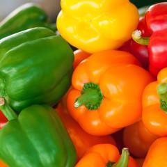 Rote, gelbe und grüne Paprikaschoten, gesundes Gemüse
