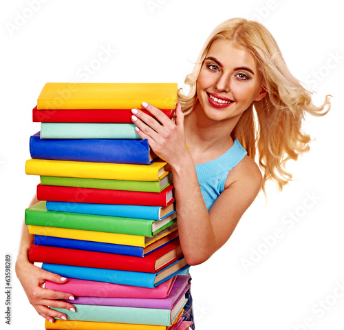 Student with stack book.