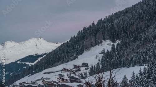Tirol village of See sunset time lapse
