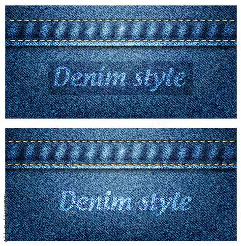 Blue denim texture with sewing, vector illustration