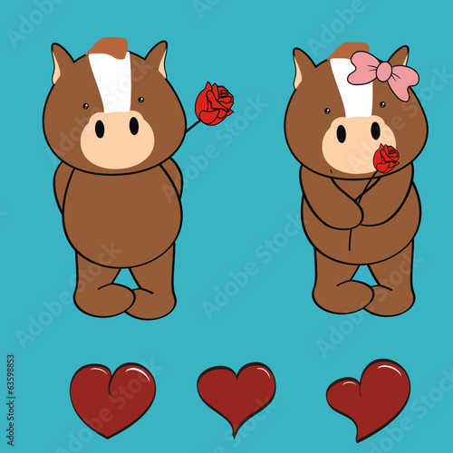 horse baby cartoon cute rose valentine