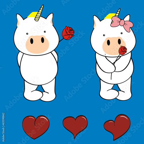 unicorn baby cartoon rose vector