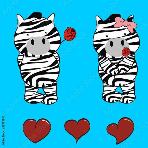 zebra cute cartoon rose valentine
