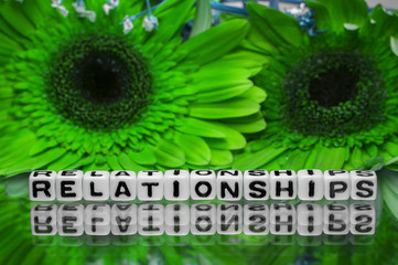 Relationships text message with green flowers