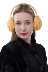 Portrait of a woman with plush earmuffs