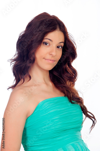 Brunette girl with green dress