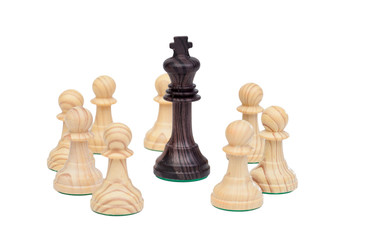 King surrounded by pawns.