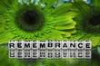 Remembrane text with green flowers