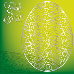 Arabic filigree egg 'Happy Easter' card in vector format