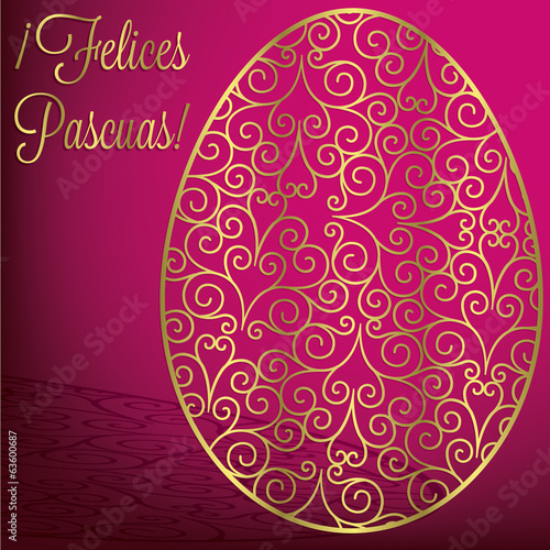 Spanish filigree egg 'Happy Easter' card in vector format