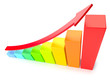 Colorful growing bar chart on white business success concept