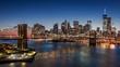 Brooklyn Bridge and Downtown Manhattan at dusk